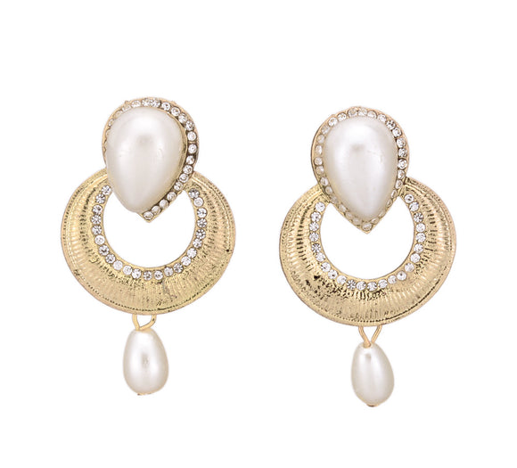 Trendy Oval Shape Drop Earring Crystal Studded