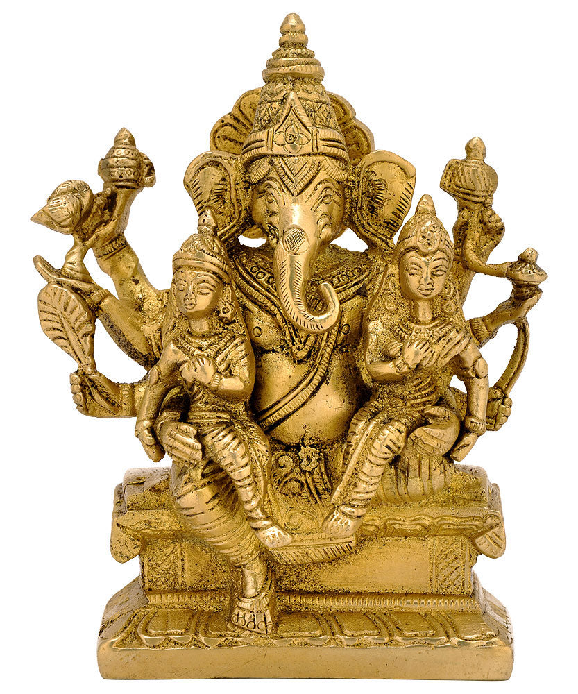 Ganesh with Consorts Riddhi Siddhi ( BS - 4438 )