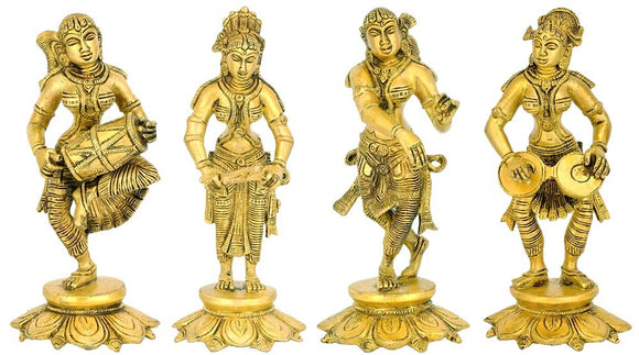 Female Musicians of Medieval India - Set of 4 Statues
