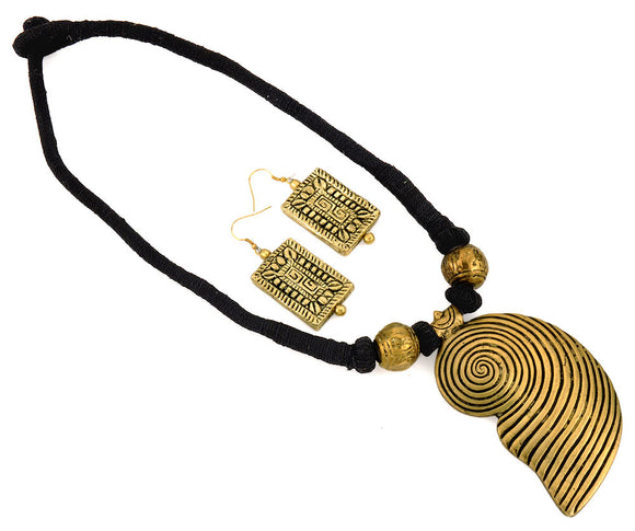 'Tribal Saga' necklace with metallic pendant