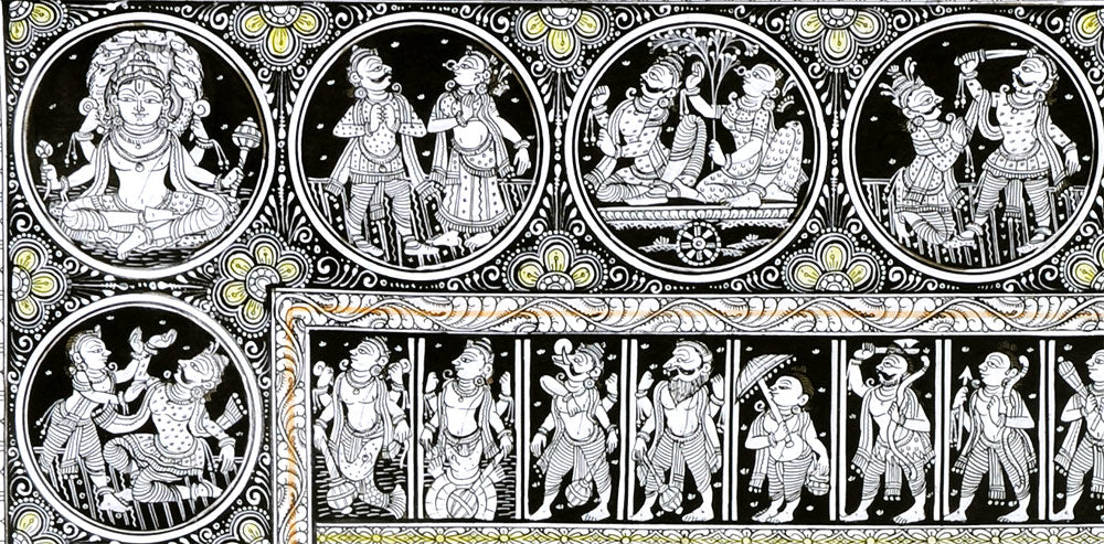 God Venkateshwara and Krishna Leela - Patachitra Painting