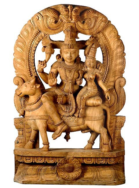 Gauri Shiva Seated on Nandi Bull - Wood Sculpture