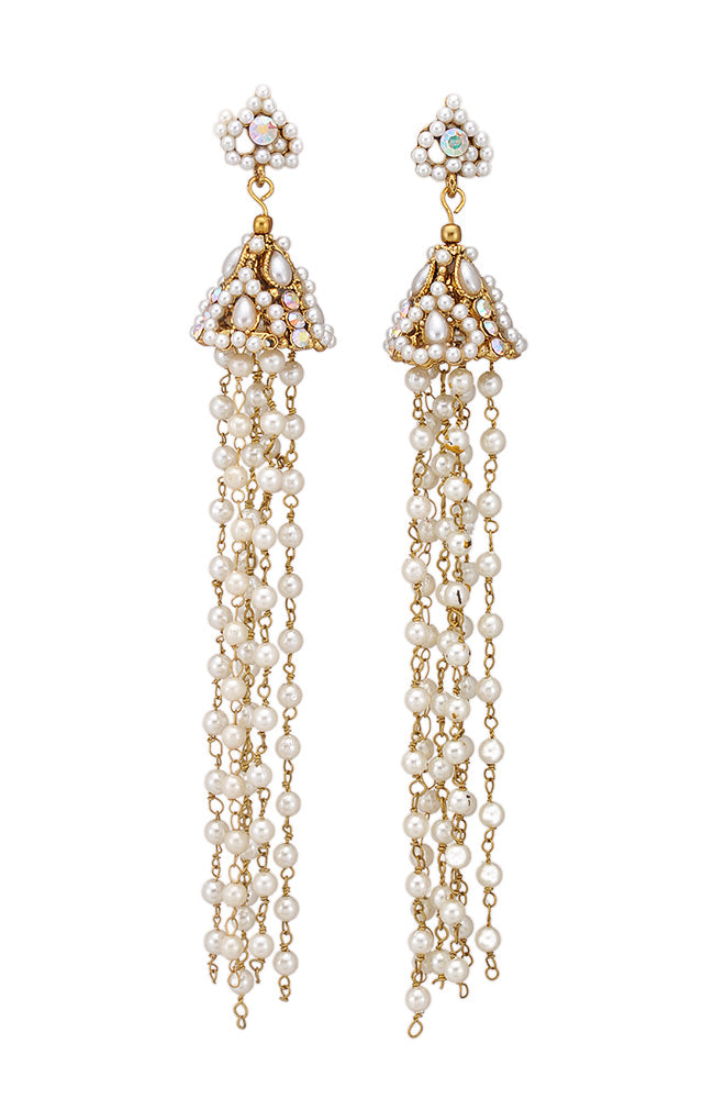 Long Jhumki Earrings Studded with White Beads