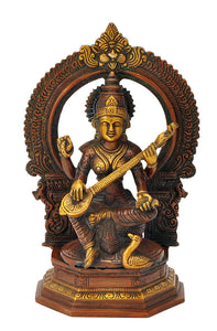 Beautifully Engraved Devi Saraswati Brass Figure