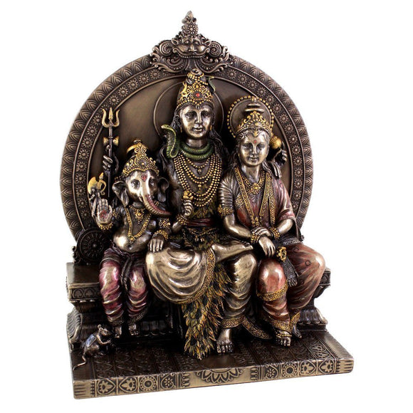 Lord Shiva Family Hindu Religious Statue Cold Cast Bronze Resin