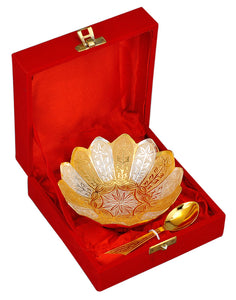 Gold Silver Plated Floral Bowl with Spoon