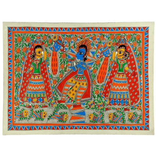 Shri Krishna with Gopis - Folk Art Madhubani Painting