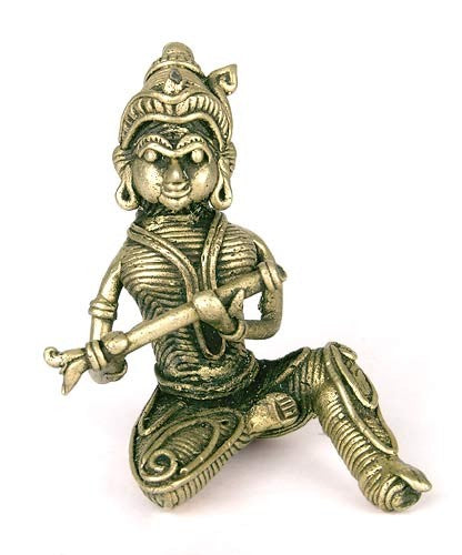 Seated Lord Krishna - Dhokra Sculpture