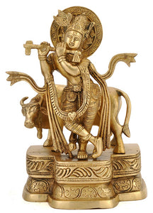 Lord Krishna with Cow Brass Carved Statue