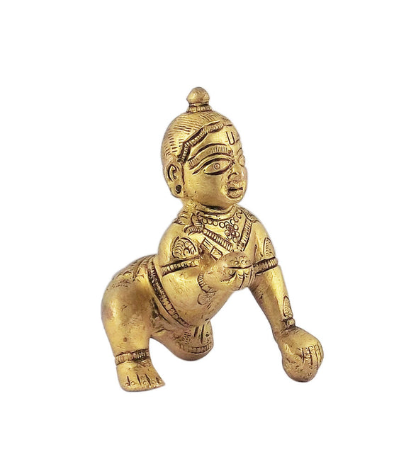 Bal Gopal Loves Laddoo Brass Statue