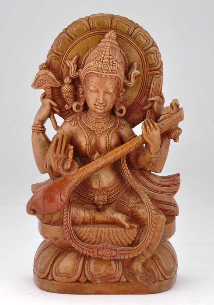 Saraswati Ma Goddess of Learning - Fine Stone Sculpture