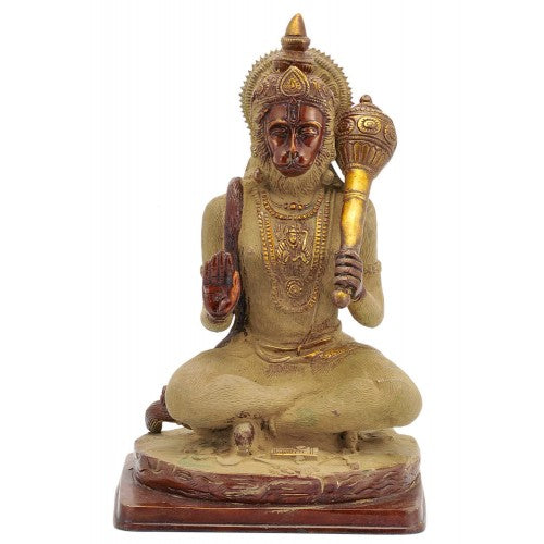 Old Finish Yogacharya Hanuman Brass Statue