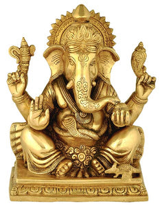 Beautifully Engraved Brass Ashtavinayaka Ganesha Sculpture
