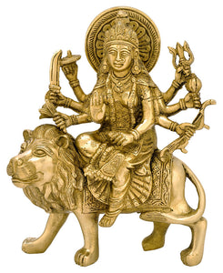 Durga on Tiger Figure - Brass Maa Ashtabhuja Statue