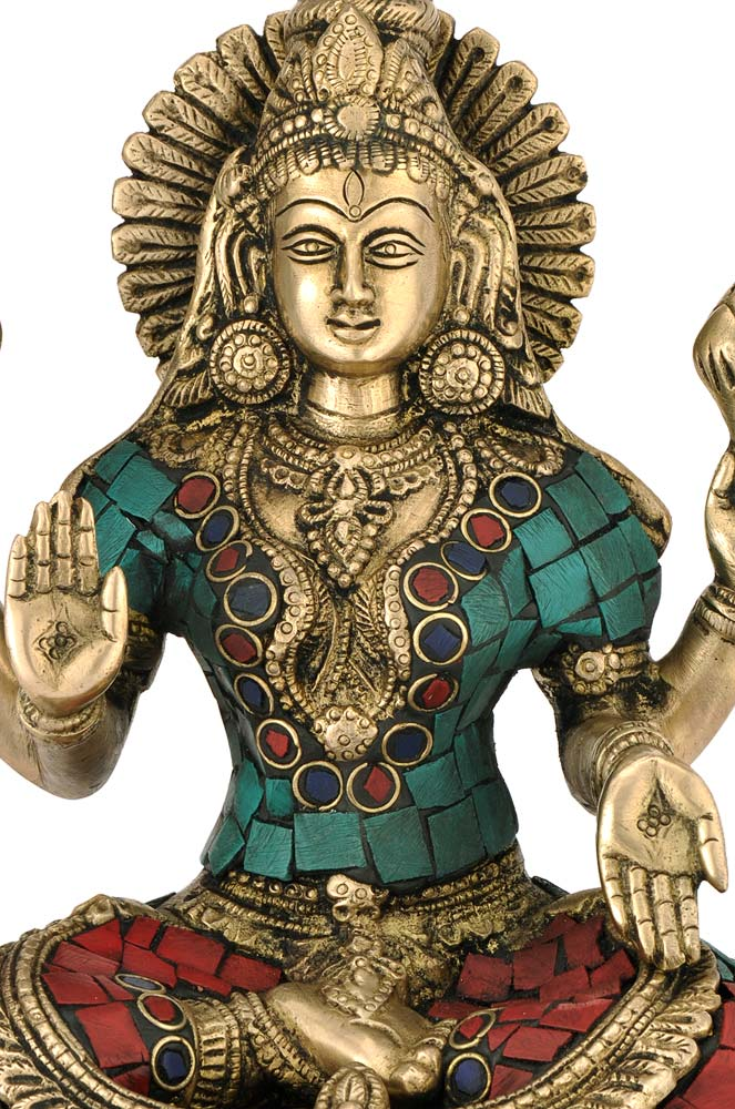 Goddess Of Wealth Laxmi Brass & Stone Statue Abhaya Mudra Lakshmi Figure 4375