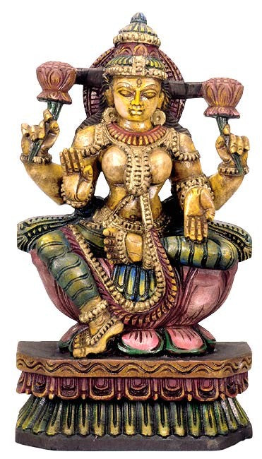 Goddess Lakshmi Wood Statue