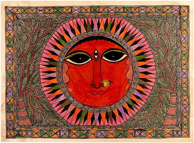 The Moon Goddess Madhubani Painting