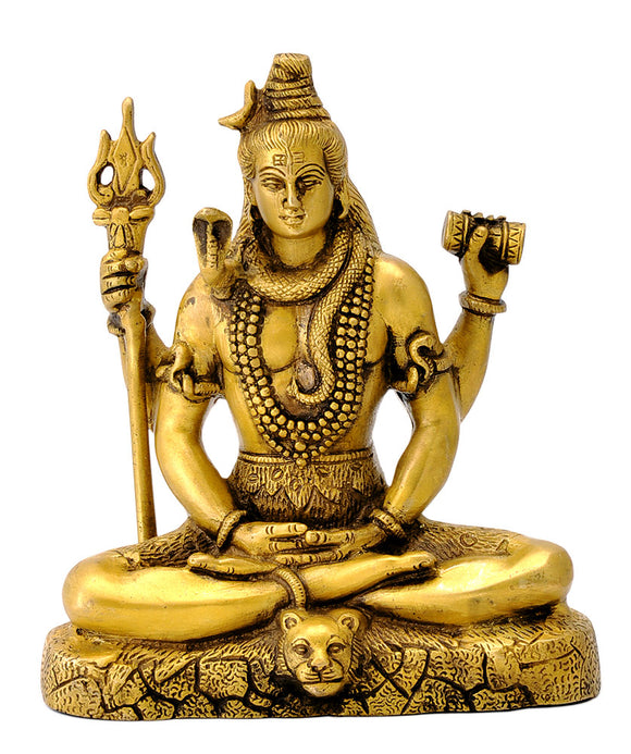 Hindu God Lord Shiva in Meditation Brass Statue