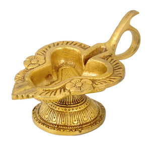 Brass Fine Carved Oil Lamp
