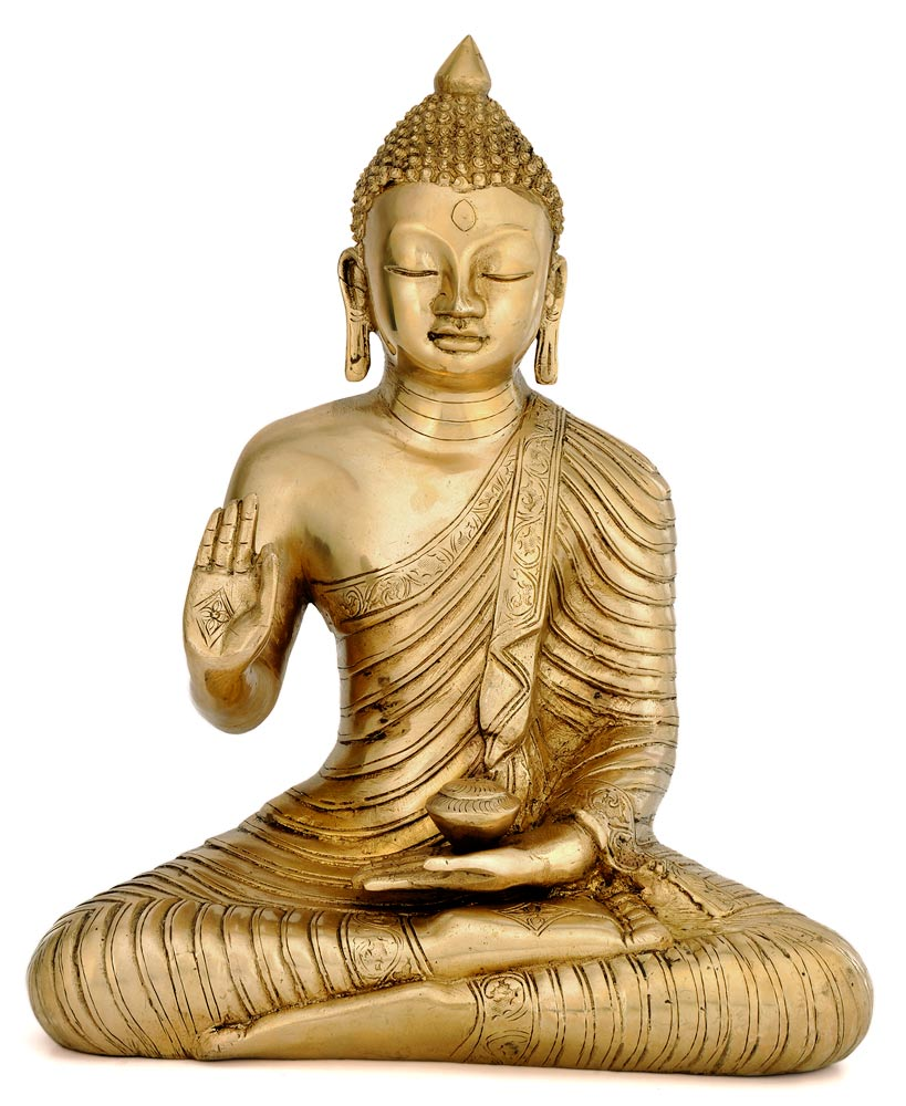 Serene Buddha Carved Brass Scupture