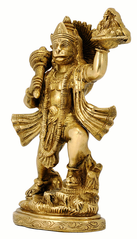 Lord Hanuman Carrying Herbs Mountain Brass Statue