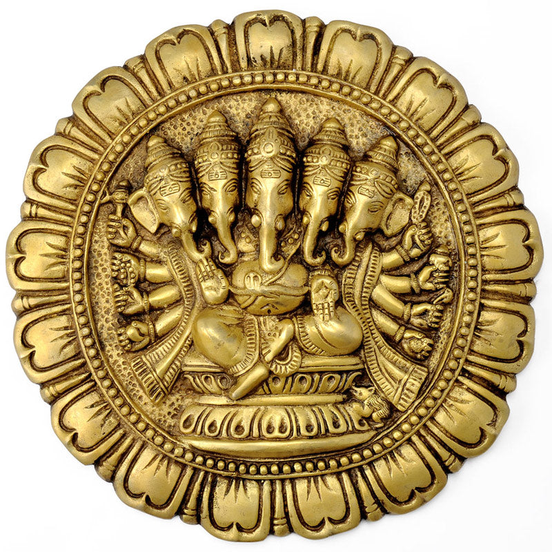 Lord Ganesha Decorative Brass Wall Plaque