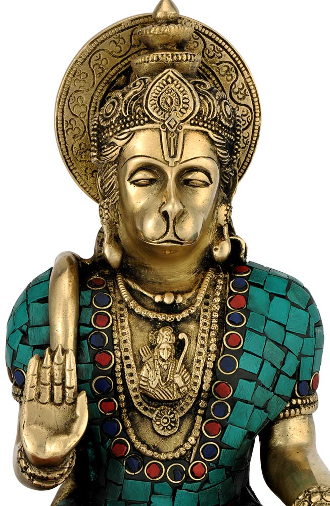Exclusive Brass Crafted W/ Stone God Hanuman Holding Jaap Mala Statue 4371