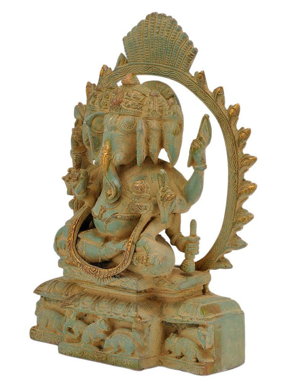 Five Headed Ganpati Antique Finish Brass Statue