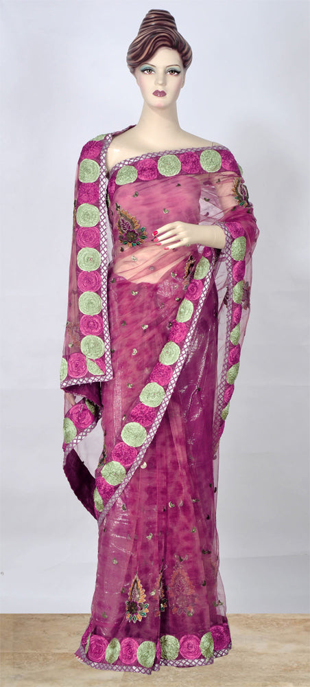 Beautiful Purple Saree with Resham Thread Work