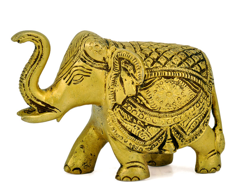 Brass Engraved Elephant Statue 4626