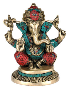Collectibles Exquisite Ganpati Brass & Stone Statue Seated Ganesha Figure 4356
