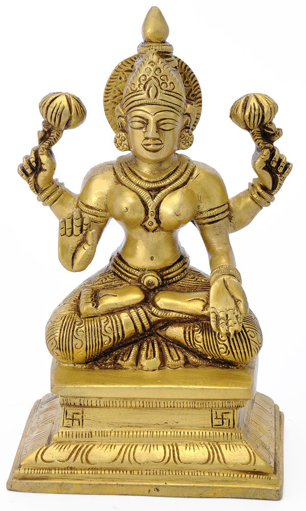Goddess Lakshmi Seated Fine Brass Statue