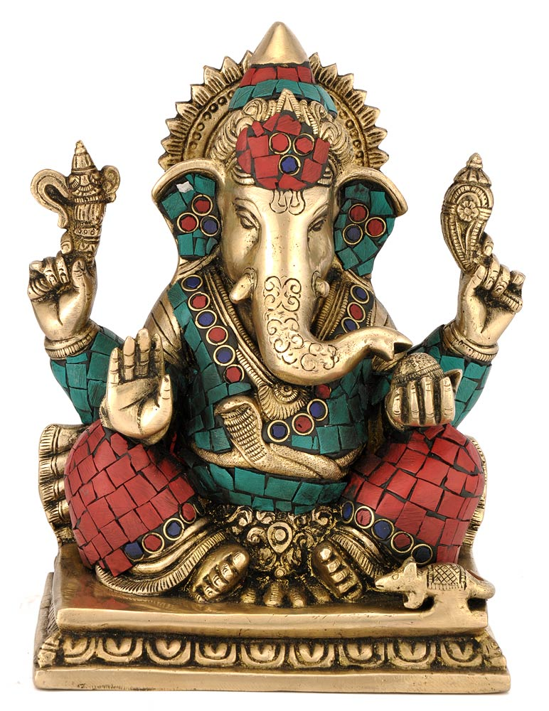 Exclusive Ganesha Brass & Stone Statue 4378