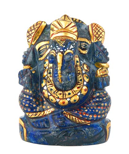 Beautiful Lord Ganesha - Painted Lapis Statue