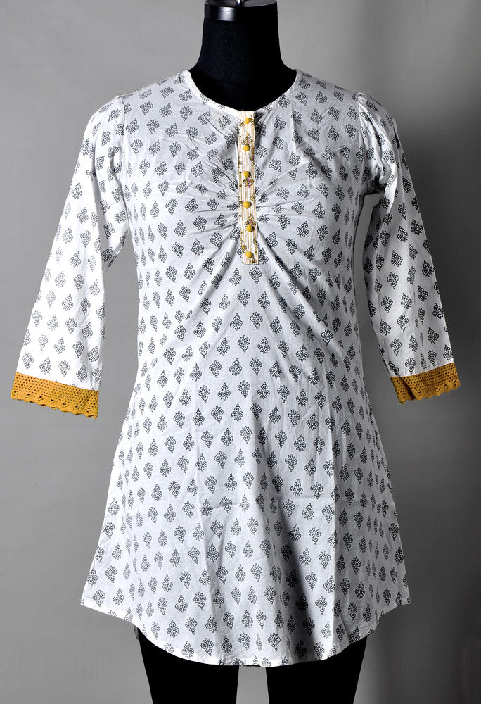 Black and White Printed Kurti