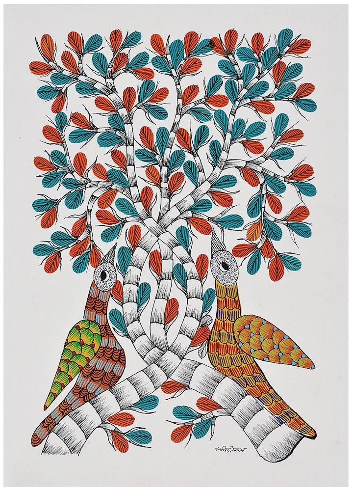 Tree of Life with Birds - Folkart Gond Painting