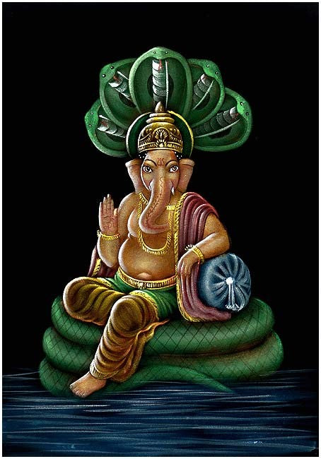 Lord Ganesha Seated on Sheshnag - Velvet Painting
