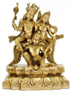 Hindu God and Goddess Laxmi Narayan on Garuda Brass Statue