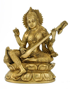 Indian Goddess Saraswati - Brass Sculpture