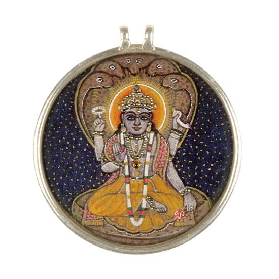 Lord VIshnu Seated on Sheshnaag-Handpainted Pendant