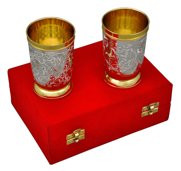 Engraved Silver Plated Glass Set in Velvet Box