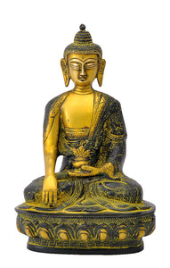 God Medicine Buddha Brass Figure with Antique Finish
