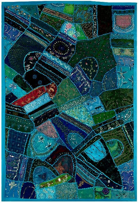 Blue Mosaic - Embroidered Wall Hanging