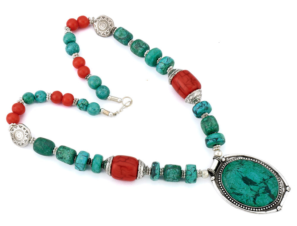 'Caribbean' Reconstituted Turquoise Necklace