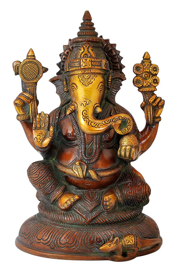 Blessing Ganesha Statue in Golden Brown Finish