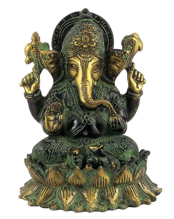 Ganesh Steated on Lotus  Brass Statue