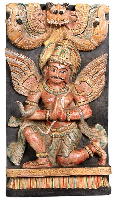 Lord Vishnu's Carrier 'Garuda' - Wood Statue