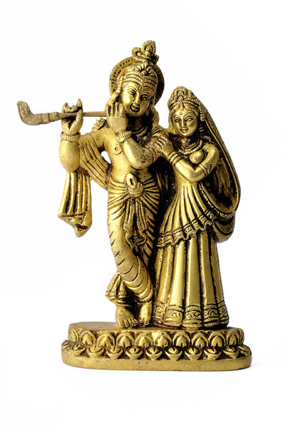 Lord Krishna with Radha Rani Brass Statue