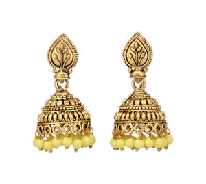 Shining Golden Jhumki with Pastel Yellow Beads