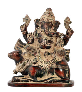 God Gajakaran Ganpati Ji Riding on Mouse Brass Antiquated Statue